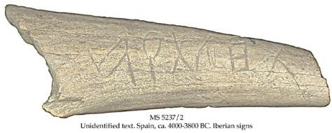 Atal Tarte Inscripción en Escritura Lineal Atlántica (ELA) de más de 6000 años.