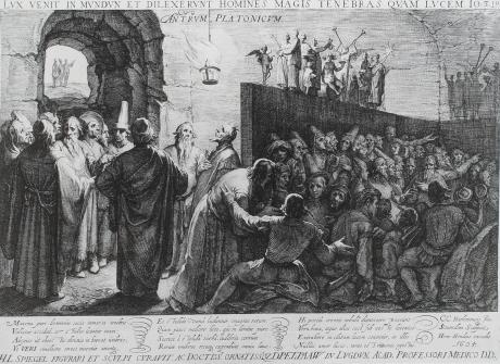 La caverna de Platón. Grabado en 1604 por Jan Saenredam