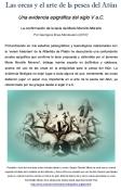 Las orcas y el arte de la pesca del Atún Una evidencia epigráfica del siglo V a.C. La confirmación de la tesis de Mario Morcillo Moreno Por Georgeos Díaz-Montexano (2010) Profundizando en mis estudios paleográficos y lexicológicos relacionados con la 'veram historiam' de la Atlántida de Platón he descubierto una contundente prueba epigráfica que confirma la tesis propuesta y defendida por el jienense Mario Morcillo Moreno , biólogo marino experto en delfínidos y cetáceos, acerca del uso de las orcas en la antigüedad para la pesca del Atún. La evidencia filológica no dejar lugar a duda alguna de que, ciertamente, las orcas debieron jugar un papel muy importante en el arte de la pesca del Atún, ya referenciado por los griegos desde el siglo V a.C. Poseidón, dios de los mares entre corceles alados y orcas. Según Claudio Eliano la orca era un animal sagrado símbolo de la realeza de los atlantes, y hace años me percaté que una de las razones principales sería su natural mancha ventral en forma de gran tridente blanco tal y como puede apreciarse en este formidable dibujo de la destacada artista visual argentina Monik Perz (http://www.actiweb.es/retratosmonik/grafica_digital.html).