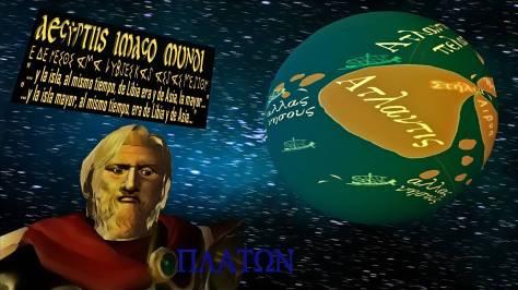 """Imagen del Mundo que los sacerdotes egipcios trasmitieron a Solón. La isla Atlantis comenzando en la boca de las Columnas de Hércules (Gibraltar) y extendiéndose hasta las """"otras islas"""" (allas nêsous) que serían las Canarias, por el Sur y las Azores y quizás Antillas por el Oeste. Interpretación en gráfica digital y 3D por Georgeos Díaz-Montexano, 2009."""