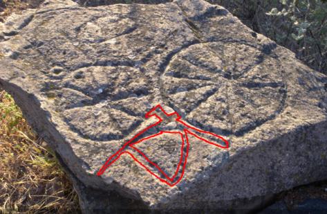 Remarcado digital del Anagrama compuesto por las letras ELA correspondientes a la R y la T. Sitio Los Aulagares, Zalamea la Real, Huelva.
