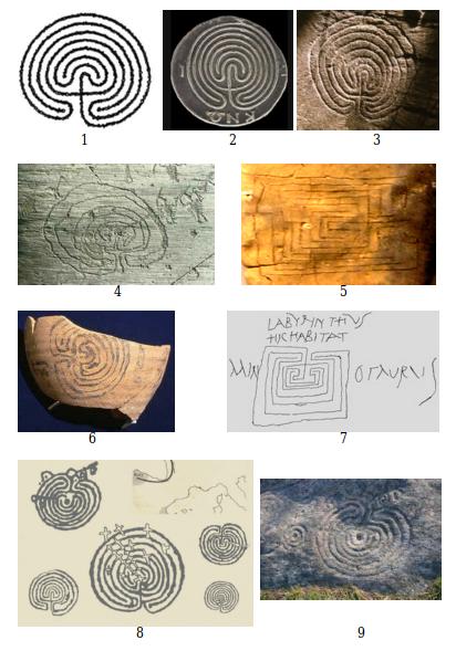 """Laberintos clásicos, también conocidos como tipo Knossos o Cretense. De izquierda a derecha: 1 - Prototipo Cretense, 2 - Laberinto en una moneda de Knossos, 3 - Petroglifo de Tintagel, Cornwall, 4 – Petroglifo de Valcamónica, Alpes (Italia), 5 – Laberinto Micénico del tipo cuadrangular en una tablilla de arcilla de Pilos, Grecia, 6 – Laberinto en una vasija de Tell Rifa'at, Siria, 7 – Grafito de Pompeya, Italia, con texto en Latín: Labyrinthus Hic Habitat Minotaurus, """"El laberinto. Aquí habita el Minotauro"""", 8 – Varios laberintos petroglíficos de Galicia, 9 – Pedra do Laberinto, Mogor, Pontevedra."""