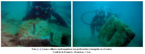 Sillares y restos de construcción hallados bajo las aguas del Golfo de Cádiz en un nivel paleoceanográficamente datado en más de 7000 años. Foto: Georgeos Díaz-Montexano, 2003.