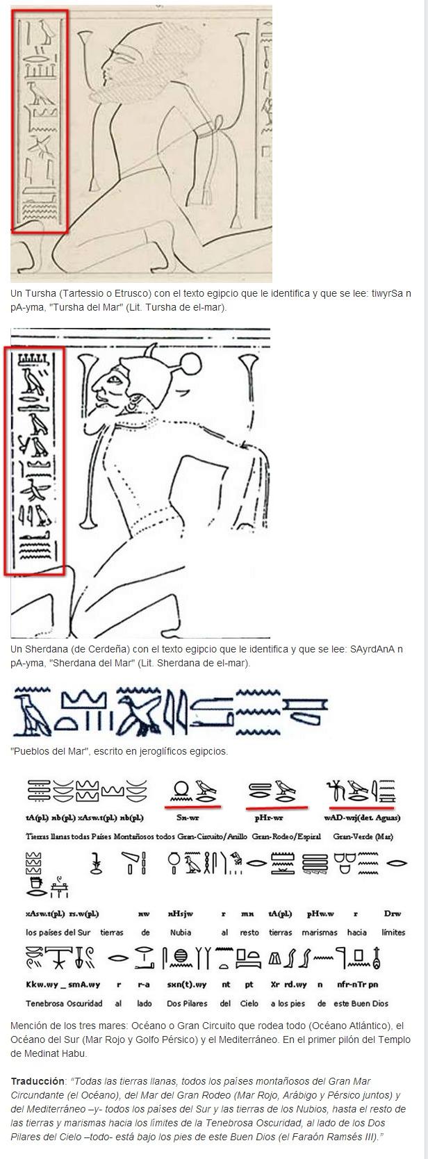 """Ejemplos de inscripciones donde se menciona el 'mar' junto a """"Pueblos del Mar"""" y en el Templo de Medinat Habu de Ramsés III, donde también se menciona el mar y el océano."""