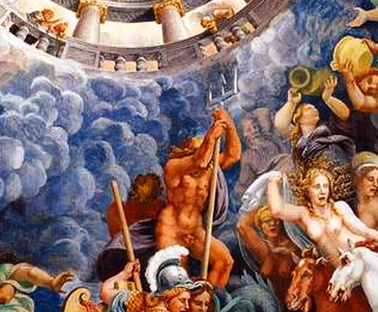 Poseidón en la Sala Dei Giganti (Sala de los Gigantes) del Palazzo Di Tè