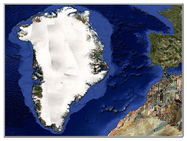 Hipótesis de Groenlandia = Atlantis, y su localización antes de ser desplazada hacia el norte, según Mario Dantas, 2007.