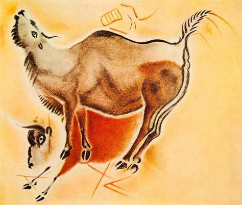 Fig. 80. Dibujo de Henri Breuil (1906) de joven bisonte mugiendo y bisonte adulto yuxtapuesto, asomando el tronco. Rodean ambos animales claros signos lineales idénticos a otros usados miles de años después por íberos y celtíberos. Foto: D.P.