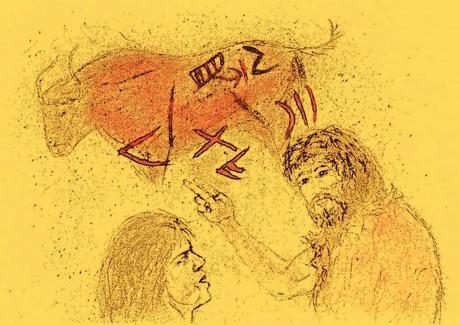 Fig. 83. Recreación de un chamán o maestro instruyendo en el arte de la escritura. Boceto del autor, 2014.