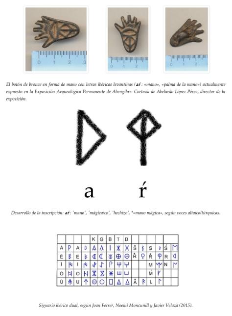 Un botón íbero de bronce en forma de mano como posible evidencia epigráfica de un término proto-vasco o talisman íbero-altaico.