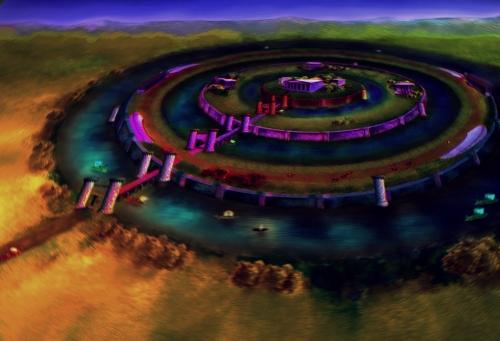 Metrópolis de Atlantis, según descripción en el Critias de Platón. Pintura de M o n i k  P e r z.