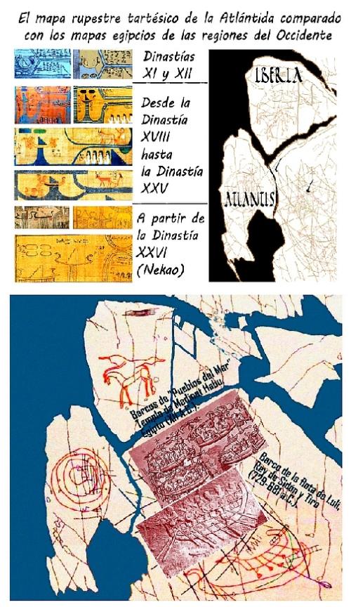 Interpretación y coloreado del mapa rupestre hallado en Badajoz, en pleno territorio tartésico, no muy lejos de Cancho Roano, que ha sido datado hacia los siglos XIV o XIII a. C., por los tipos de barcos.
