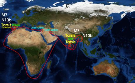 ¿Posible confirmación genética de la relación entre la Tarshish oriental (Ofir) y la Tarshish occidental (Tartessos-Ofiussa)?